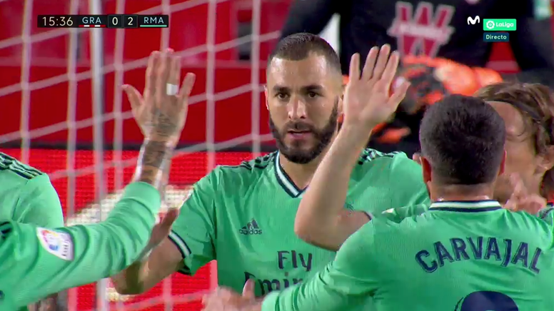Benzema double la mise six minutes après le but de Mendy. Capture/Movistar+