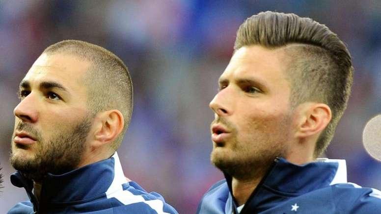 Giroud habló de su relación con Karim Benzema. AFP