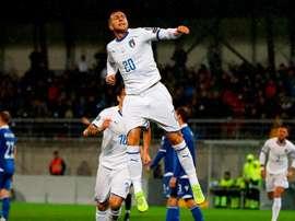 Bernardeschi celebra il gol che ha aperto le marcature.Twitter/azzurri