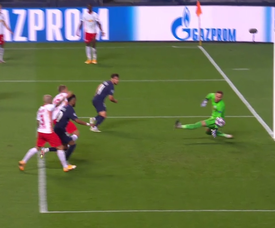 Bernat scored a goal with a header against RB Leipzig. Captura/MovistarLigadeCampeones