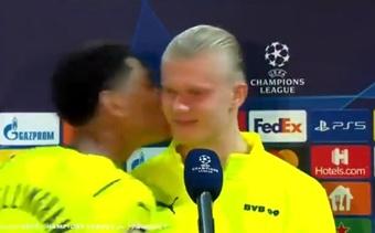 Bellingham besó a Haaland tras la victoria contra el Besiktas. Captura/Twitter/CBSSportsGolazo