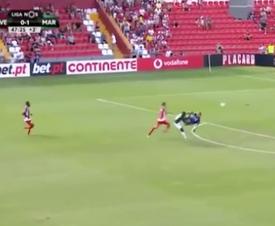 El gol de Joel no subió al marcador después de que el árbitro consultase el VAR. Captura