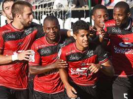 Blas celebra un gol con el Guingamp. EAGuingamp