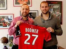 Bodmer, durante su presentación como jugador del Guingamp. Guingamp