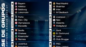 Así queda la fase de grupos de la Champions League 2020-21. BeSoccer