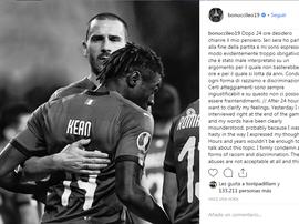 Bonucci dio marcha atrás en el 'caso Kean'. Instagram/Bonuccileo19