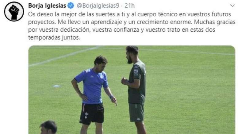 Borja Iglesias dedicó unas palabras a Rubi tras confirmarse su adiós. Twitter/BorjaIglesias9