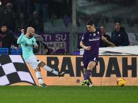 Borja Valero sblocca il risultato al Franchi. Twitter/InterFC
