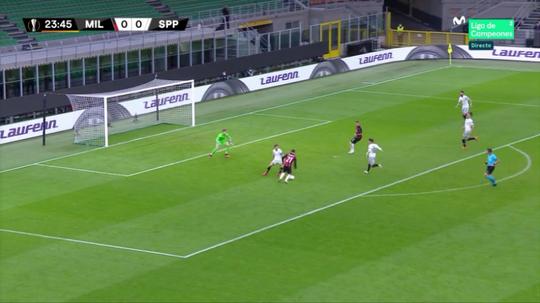 Brahim porta in vantaggio il Milan. MovistarLigadeCampeones