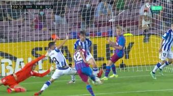 O terceiro do Barça, o segundo de Braithwaite. Captura/Movistar+LaLiga