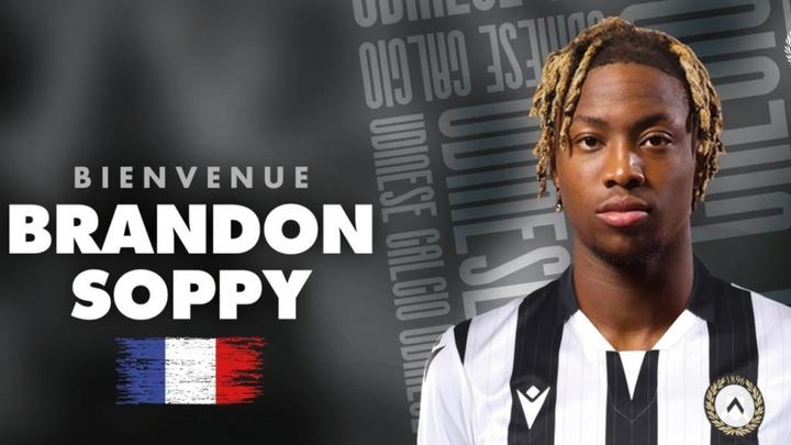 Brandon Soppy ya viste los colores del Udinese. Twitter/Udinese_1896
