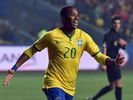 Brazil forward Robinho celebrates after scoring against Paraguay during their 2015 Copa America football championship quarter-final match, in Concepcion, Chile, on June 27, 2015
