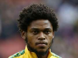 Brazil striker Luiz Adriano lines up ahead of the friendly international football match between Brazil and Chile at The Emirates Stadium in London on March 29, 2015