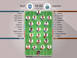 Brazil v Argentina, Annual Friendly, 2019/20, matchday 36, 15/11/2019 - official line.ups. BESOCCER