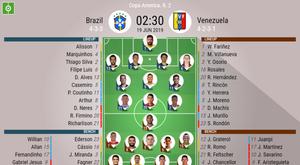 Brazil v Venezuela, Copa America 2019, Group A, MD2, 19/06/2019, - Official line-ups. BESOCCER