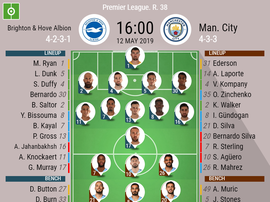 Brighton & Hove Albion v Manchester City, Premier League, GW 38, 12/05/2019 - official line-ups. BE