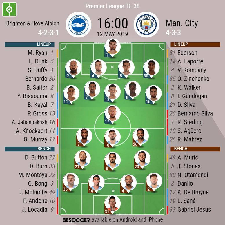Brighton & Hove Albion v Manchester City, Premier League, GW 38, 12/05/2019 - official line-ups. BE