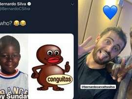 Bernardo Silva accusé de racisme après son tweet sur Mendy. Twitter/BernardoCSilva/Instagram/benmend