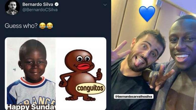La broma de Bernardo Silva y Mendy trae cola. Twitter/BernardoCSilva/Instagram/benmendy23