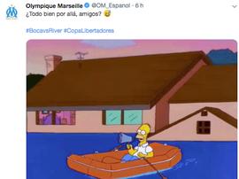El Marsella bromeó con la suspensión del duelo. Twitter/OM_Espanol