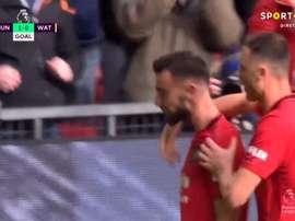 Bruno Fernandes marcó de penalti su primer gol como 'red devil'. Captura/SportTV2