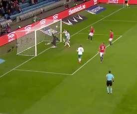 Brunt anotó el único gol del partido entre Noruega e Irlanda del Norte. Twitter/MovistarFútbol