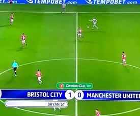 Bryan scores against Manchester United. Twitter