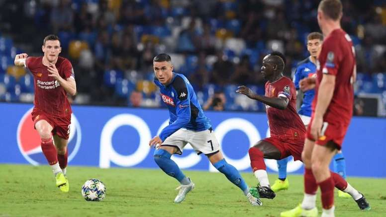 Callejon won the penalty which helped Napoli beat Liverpool at the San Paolo. Twitter/sscnapoli