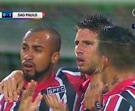Calleri celebra el gol anotado ante Nacional. Twitter