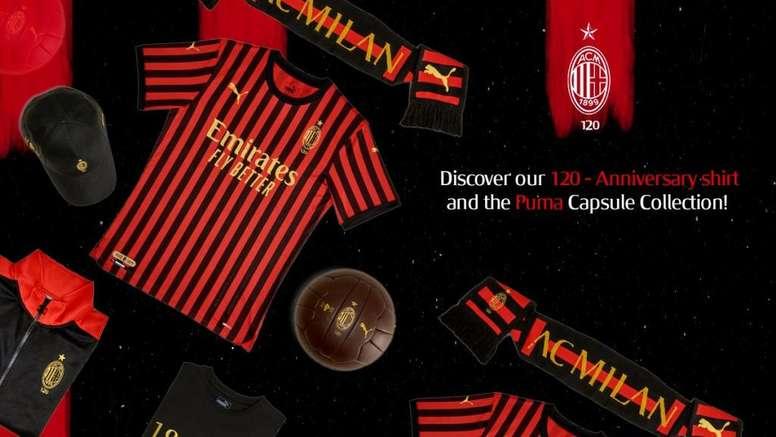 Milan lança camisa para o 120º aniversário. Twitter/acmilan