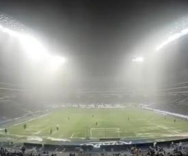 La incesante tormenta suspendió el partido. Twitter/Rayados