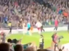 Fans directed a chant at Eriksen. Screenshot/Twitter
