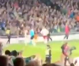 Fans directed a chant at Eriksen. Screenshot/Twitter