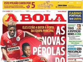 Capa do jornal 'A Bola', 12/11/2017. BeSoccer