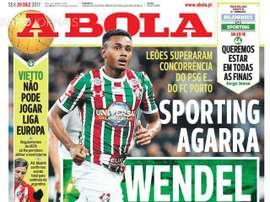 A capa do jornal 'A Bola', 29/12/2017. A Bola
