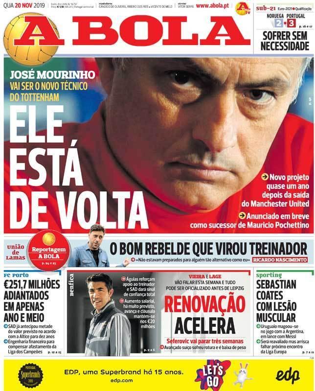 Capa do diário 'A Bola' de 20-11-19. /A Bola