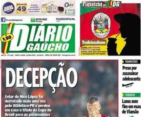 Capa do jornal Diário Gaúcho, de Porto Alegre.