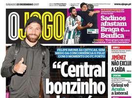Capa do jornal 'O Jogo', 23/12/2017. O Jogo