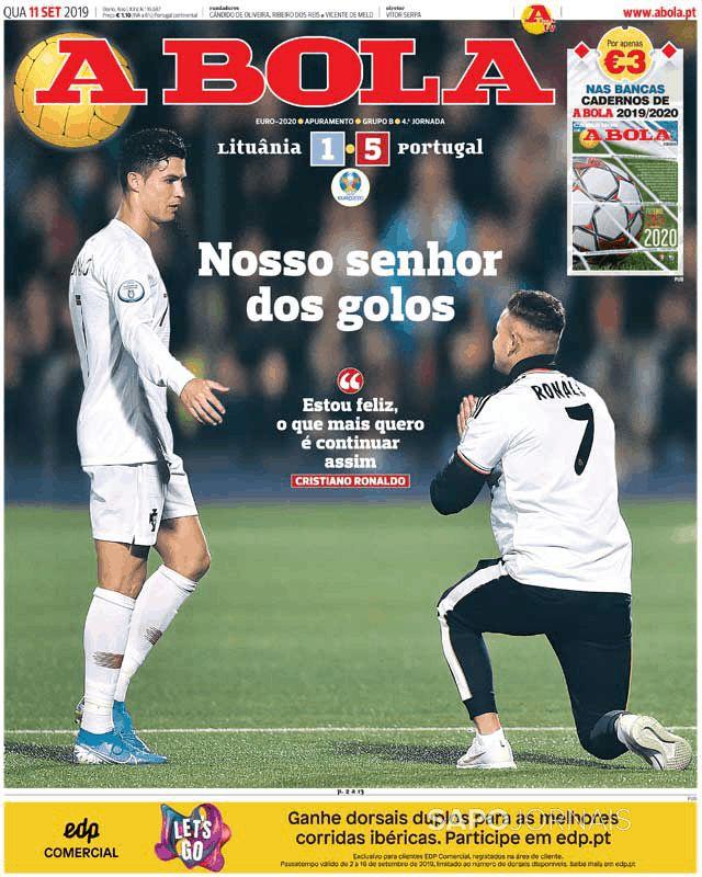 Capa do jornal 'A Bola' de 11/09/19. A Bola