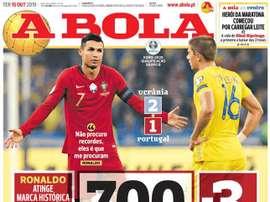 Capa do jornal 'A Bola' de 15/10/19. A Bola
