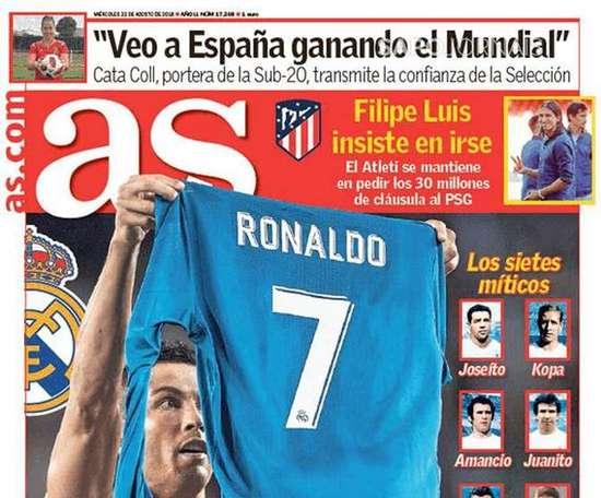 Capa do jornal 'AS' de 22-08-18. AS