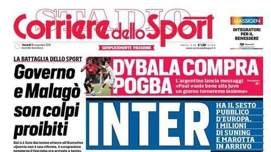 Capa do jornal 'Corriere dello Sport' de 16-11-18. Corriere dello Sport