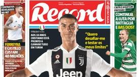 Capa do jornal 'Record' de 17-07-18. Record