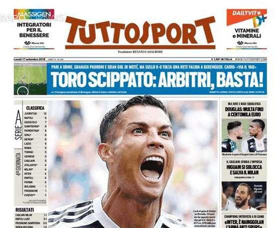 Capa do jornal 'Tuttosport' de 17-09-18. Tuttosport