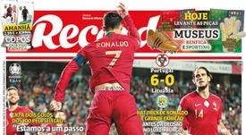 Capa do jornal Record de 15-11-19. /Record