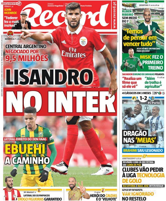 Capa do jornal 'Record', 12/01/2018. Record