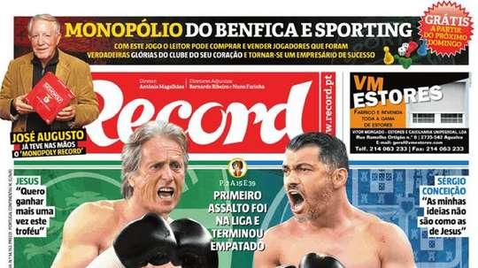 Capa do jornal 'Record¡, 24/01/2018. Record
