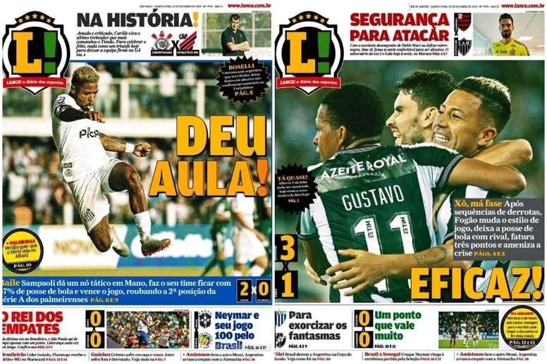 Capas do jornal Lance! nas edições de Rio de Janeiro e São Paulo 10/10/2019. Lance!