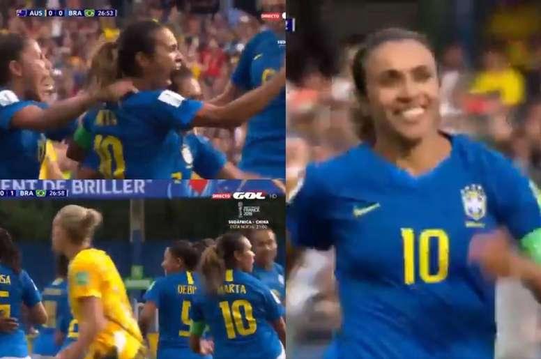 Marta se estrenó en el Mundial con un dudoso penalti. Twitter/GOL