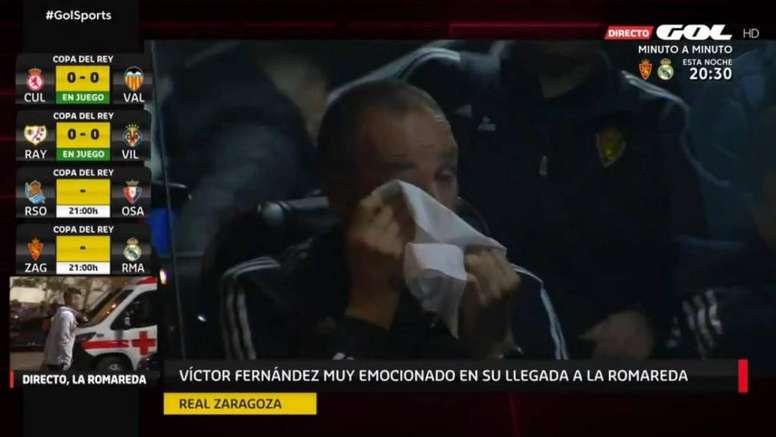 Víctor Fernández no aguantó la emoción antes del choque. Captura/GOL